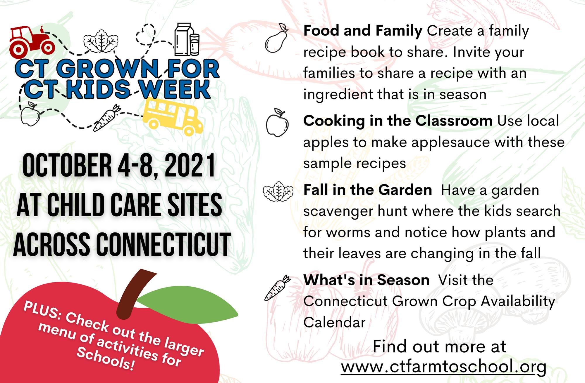 CT Grown For CT Kids Week menu of activities